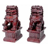 "4"" Red Resin Fu Dogs"