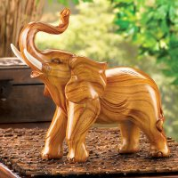 Large Polyresin Wood Look Lucky Elephant