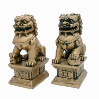 "6"" Gold Resin Fu Dogs"