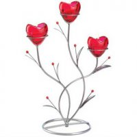 Red Heart Flowers Candle Holder
