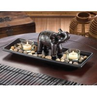 River Rock Candle Set With Carved Elephant