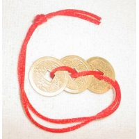 3 Prosperity Coins on Red Cord