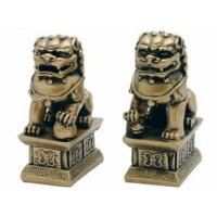 "4"" Gold Resin Fu Dogs"