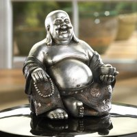 Silver and Black Sitting Happy Buddha