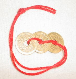 3 Prosperity Coins on Red Cord - Click Image to Close