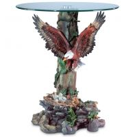 Eagle Protecting Eaglets Glass-Top Accent Table